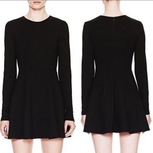 Theory Tillora LBD Long Sleeve Black Skater Dress